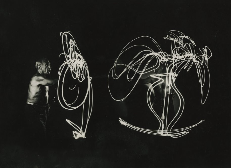 Gjon MIli. Picasso Space Drawing, France (vase of flowers), 1949. Gelatin silver print; printed c. 1949. 9 1/2 X 12 1/4 inches. Mounted. Annotated with credit, title and date in an unknown hand in ink and pencil, with credit and 'LIFE Magazine ' stamps on mount verso.