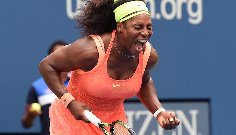 Serena Williams of the US celebrates winning a point against Roberta Vinci of Italy during their 2015 US Open Women's singles semifinals match at the USTA Billie Jean King National Tennis Center in New York on September 11, 2015. AFP PHOTO/JEWEL SAMAD (Photo credit should read JEWEL SAMAD/AFP/Getty Images)
