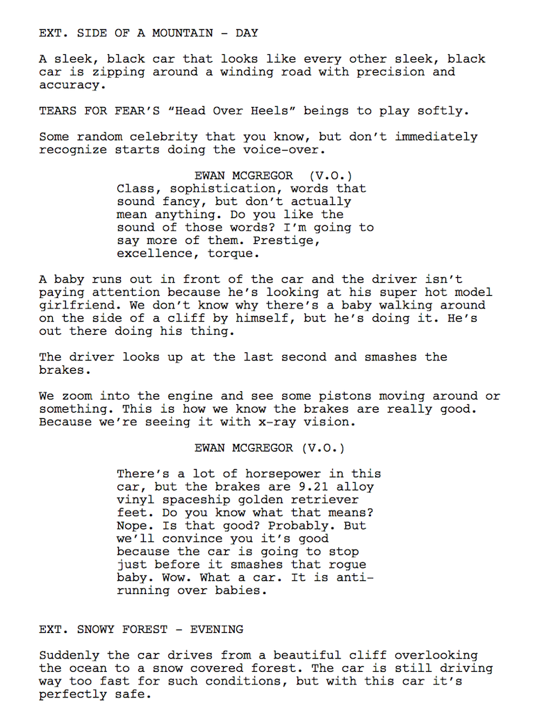 The Script For Every Car Commercial That's Ever Existed