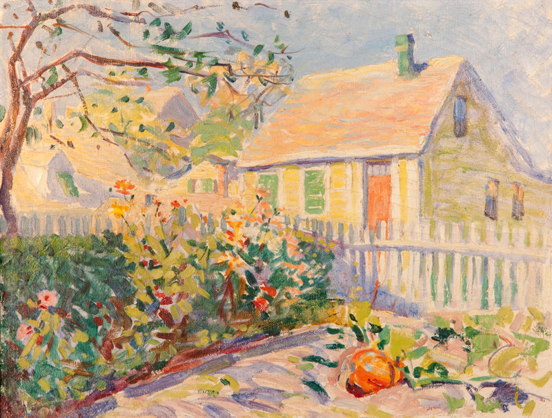 House with Pumpkin. By Edith Lake Wilkinson.
