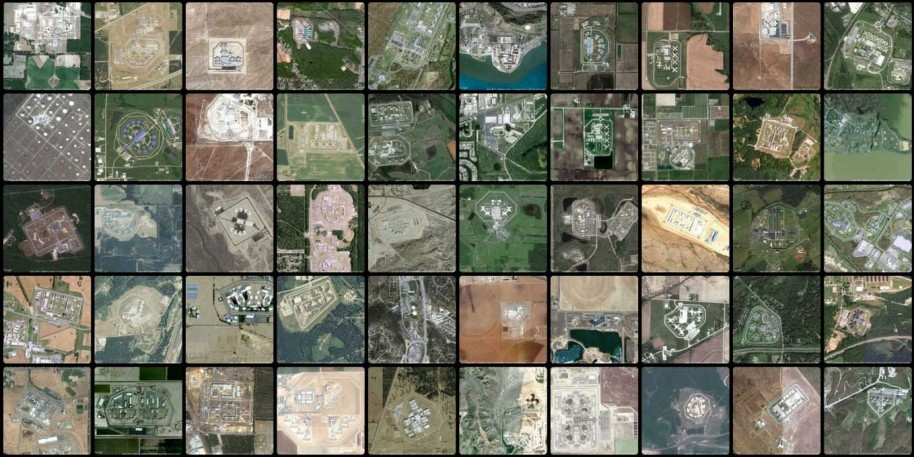 Josh Begley, Screengrab from 'Prison Map' (www.prisonmap.com) of tiled satellite images of U.S. prisons. 'Prison Map,' modifies Google API code to automatically photograph every locked facility in the country. Courtesy the artist.