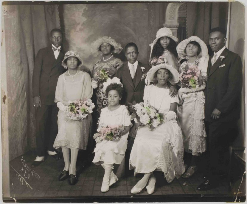 James Augustus Joseph Van Der Zee, Untitled (portrait of wedding party, New York), 1923. Gelatin silver print. Harvard Art Museums/Fogg Museum, Transfer from the Carpenter Center for the Visual Arts, Gift of the Van der Zee Institute, 2.2002.1319. Photo: Harvard Art Museums, © President and Fellows of Harvard College.