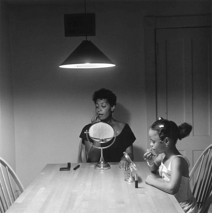 Carrie Mae Weems Kitchen Table Portfolio, 2003 20 platinum prints, 14 silk screened text panels and custom box 20 x 20 inches (photos) 11 x 11 inches each (text panels) 21 x 21 x 1 1/2 inches (custom box) Edition 9 of 10, with 2 APs and 1 printer proof