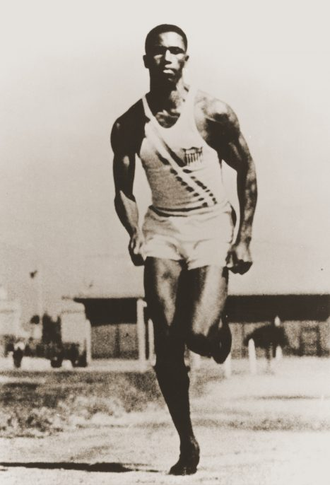 American Olympic runner Mack Robinson training at the summer games in Berlin. Robinson, the older brother of American baseball star Jackie Robinson, won the silver in the 200m event, finishing second to Jesse Owens. US Holocaust Memorial Museum courtesy of Delano Robinson