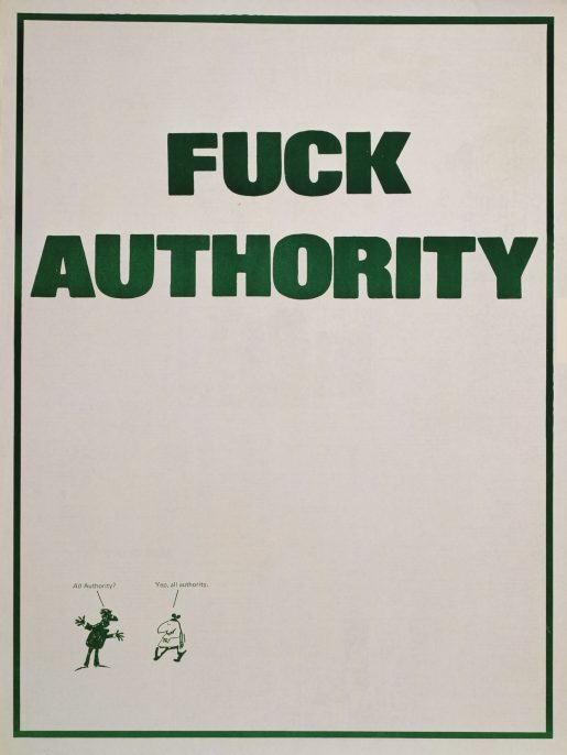 """""""Fuck authority,"""" Fifth Estate, 1975. The Fifth Estate is an antiauthoritarian, anticapitalist, anrachist magazine founded in 1965."""