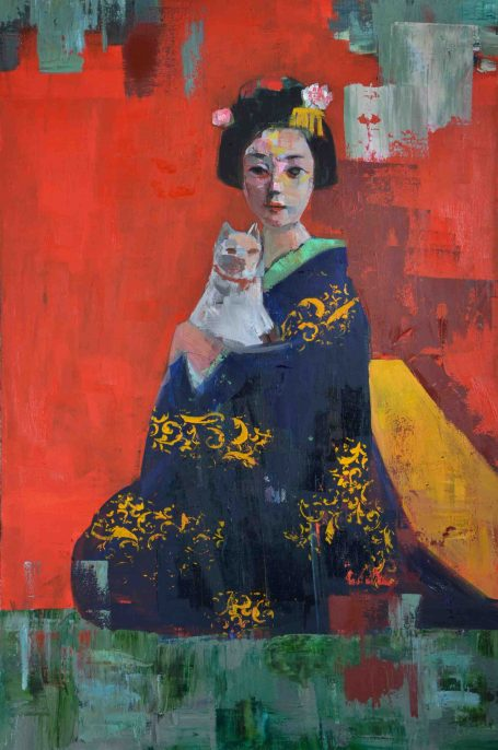 RIMI YANG, Geisha and Her Cat, 2016, Oil on Canvas, 36 × 24 in