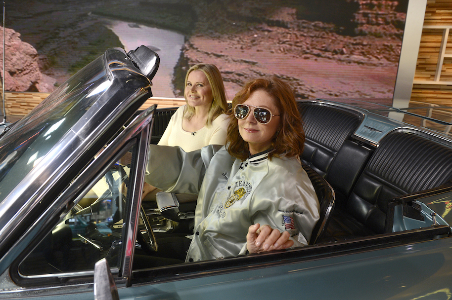 "GOOD MORNING AMERICA - Susan Sarandon and Geena Davis celebrate the 25th anniversary of their iconic film ""Thelma & Louise"" on GOOD MORNING AMERICA, airing THURSDAY, APRIL 28 (7-9am, ET) on the ABC Television Network. (Photo by Ida Mae Astute/ABC via Getty Images) GEENA DAVIS, SUSAN SARANDON"