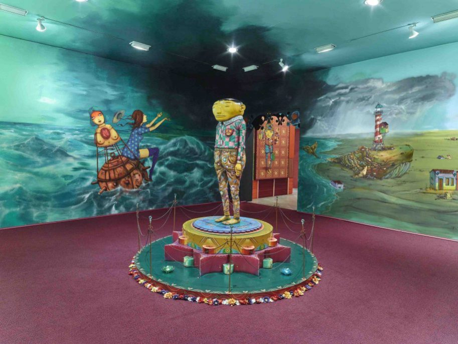 OSGEMEOS: Silence of the Music Installation view, Lehmann Maupin, 536 22nd Street, New York September 8 - October 22, 2016 Courtesy the artists and Lehmann Maupin, New York and Hong Kong Photo: Max Yawney