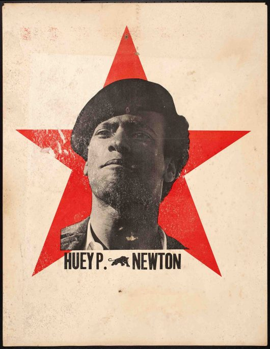 Unknown maker, Huey P. Newton, circa 1969. Offset lithograph on cardstock, 23 x 16.75 in. Collection of the Oakland Museum of California, All Of Us Or None Archive. Gift of the Rossman Family.