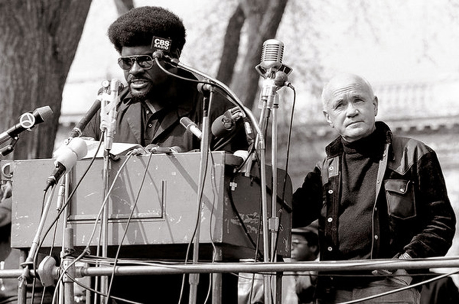 Jean Genet at a Black Panthers rally. Courtesy Getty Images.