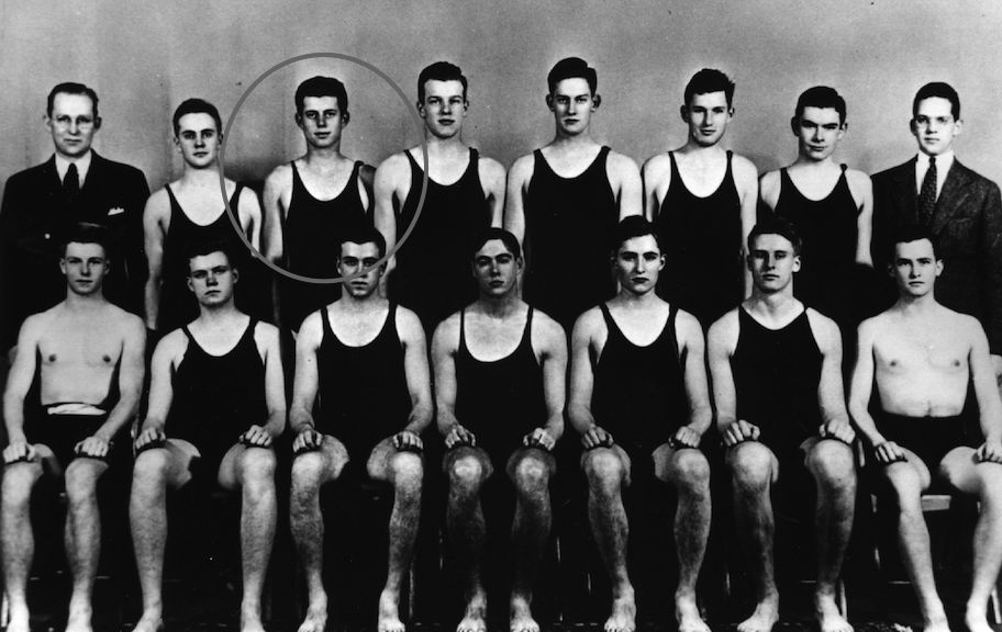 circa 1935: US statesman John Fitzgerald Kennedy, 35th president of the US (back row, third from left) with fellow members of the Harvard Swimming Team. John F Kennedy Library (Photo by Keystone/Getty Images)