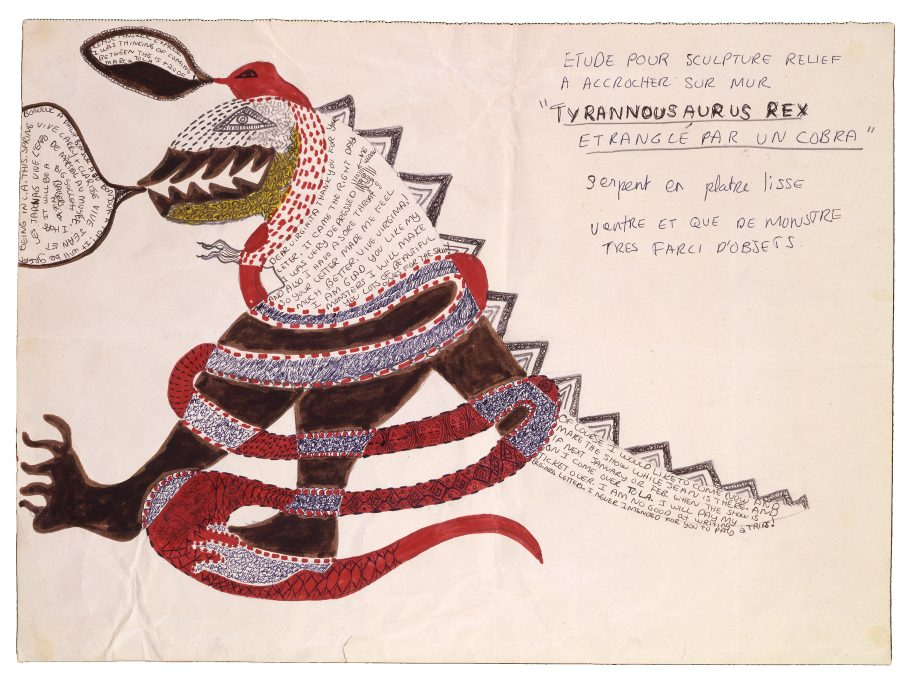 Niki de Saint Phalle, Tyrannousaurus Rex etranglé par un cobra, c. 1963, colored markers, ballpoint pen, and graphite on paper sheet: 36 49 cm (14 3/16 19 5/16 in.) Collection of Virginia Dwan