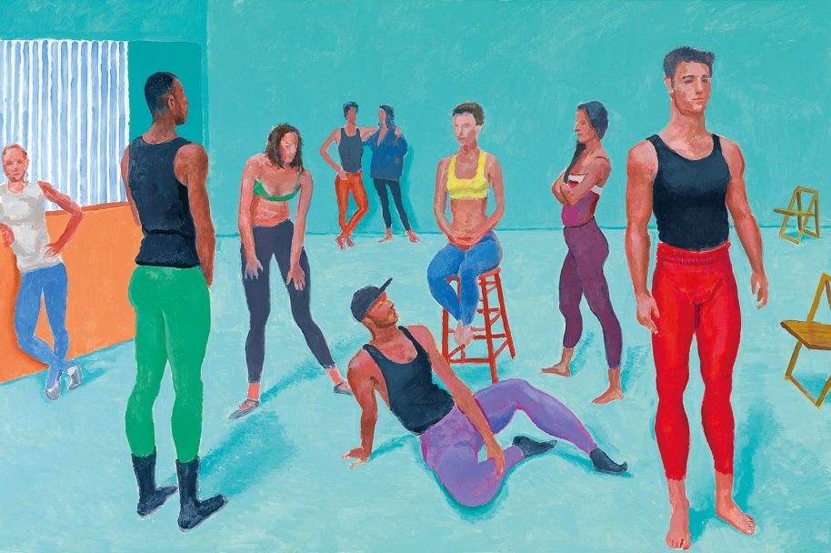 David Hockney. English 1937–. The group XI, 7-11 July 2014. acrylic on canvas. 122.0 x 183.0 cm. Collection of the artist. © David Hockney. Photo Credit: Richard Schmidt. rom David Hockney: Current (Thames & Hudson, May 2017).