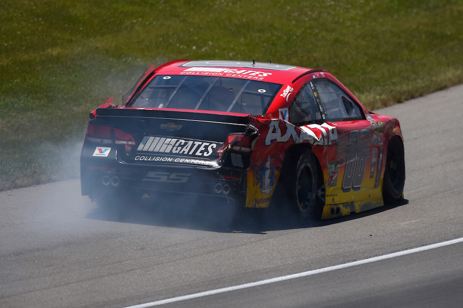 BROOKLYN, MI - JUNE 12: Dale Earnhardt Jr, driver of the #88 Axalta Chevrolet, drives to pit road after an on-track incident during the NASCAR Sprint Cup Series FireKeepers Casino 400 at Michigan International Speedway on June 12, 2016 in Brooklyn, Michigan. (Photo by Josh Hedges/Getty Images )