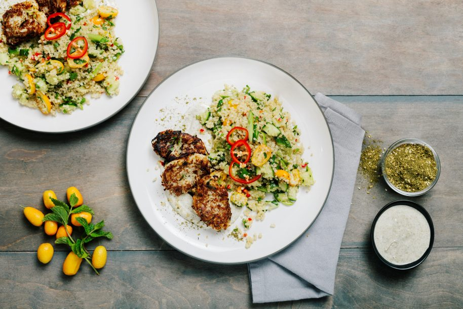 Above: Crispy turnip cakes with tabbouleh.