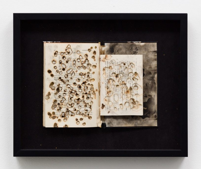 """Kio Griffith, Ember Altered book, """"Fahrenheit 451"""" """"Fires In The Plain"""", Fu Rong Wang cigarettes, 15 x 17 x 2 inches 2015"""