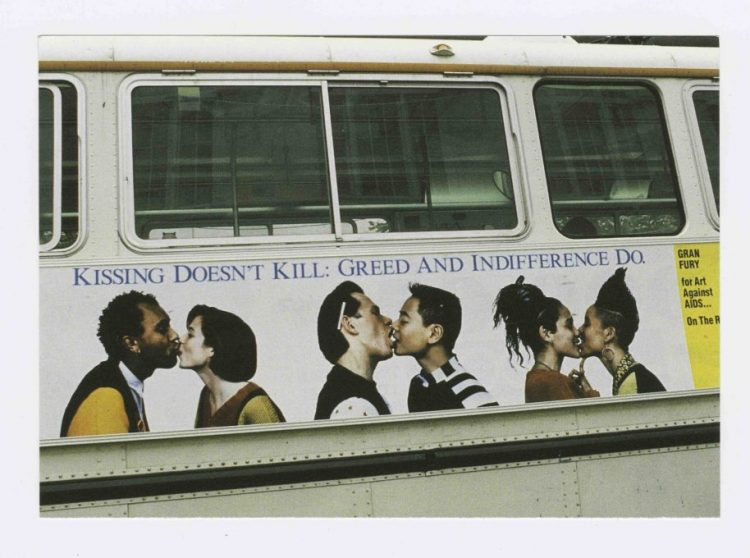 Kissing Doesn't Kill: Greed and Indifference Do bus poster, design by Gran Fury for Art Against AIDS/On The Road and Creative Time, Inc., 1989, Gran Fury, Courtesy The New York Public Library Manuscripts and Archives Division.