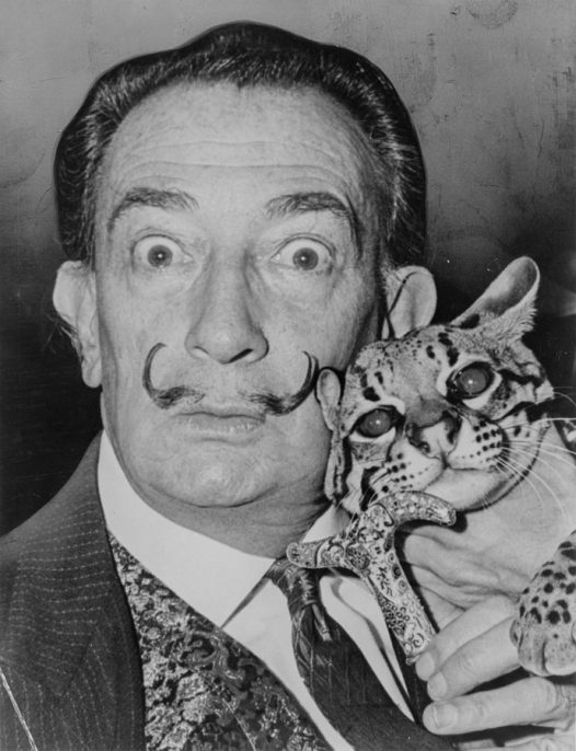Salvador Dali with Babou, the ocelot and cane, 1965. Roger Higgins, World Telegram staff photographer. Library of Congress. New York World-Telegram & Sun Collection. Courtesy Wikimedia Commons.