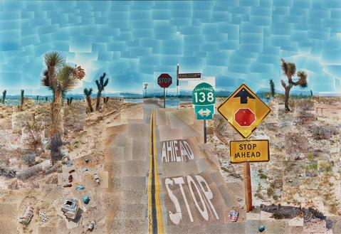 David Hockney. Pearblossom Hwy., 11 - 18th April 1986, #2, April 11-18, 1986. Chromogenic prints mounted on paper honeycomb panel, 181.6 × 271.8 cm (71 1/2 × 107 in.), The J. Paul Getty Museum, Los Angeles. © 1986 David Hockney. 97.XM.39