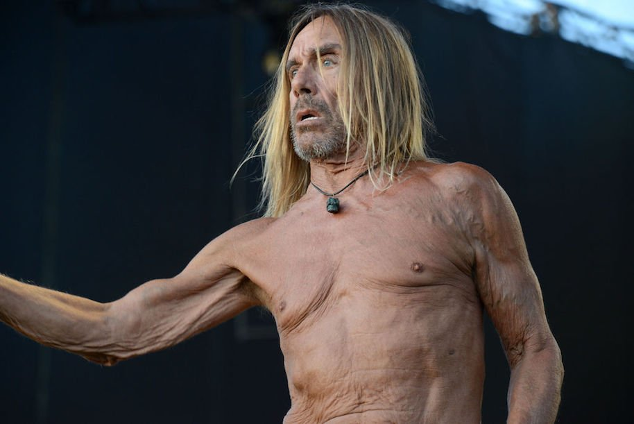 LOS ANGELES, CA - JULY 23: Singer Iggy Pop performs onstage during FYF Fest on July 23, 2017 in Los Angeles, California. (Photo by Scott Dudelson/WireImage)