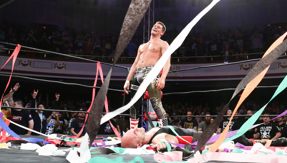 Cody celebrates the ROH World Championship at Best in the World.