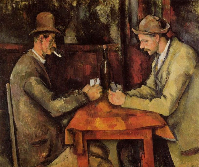 Paul Cézanne. Card Players (5th version) (ca.1894-1895), oil on canvas, Musée d'Orsay. © Royal Family of Qatar. Courtesy of Wikimedia Commons.