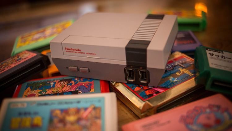 Nintendo NES with retro game cartridges