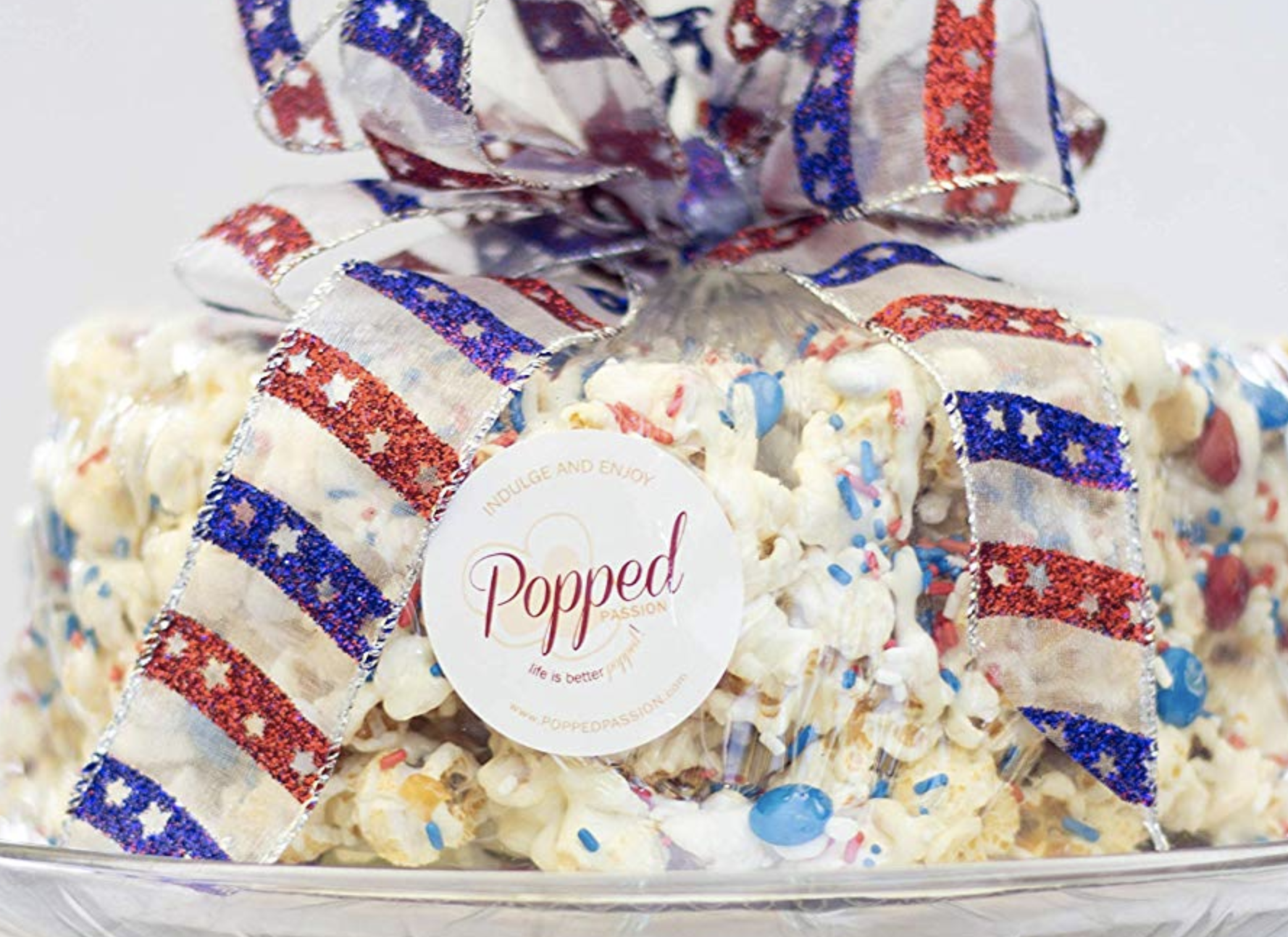 Popped Passion's Fourth of July Red White Blue Marshmallow Popcorn Cake