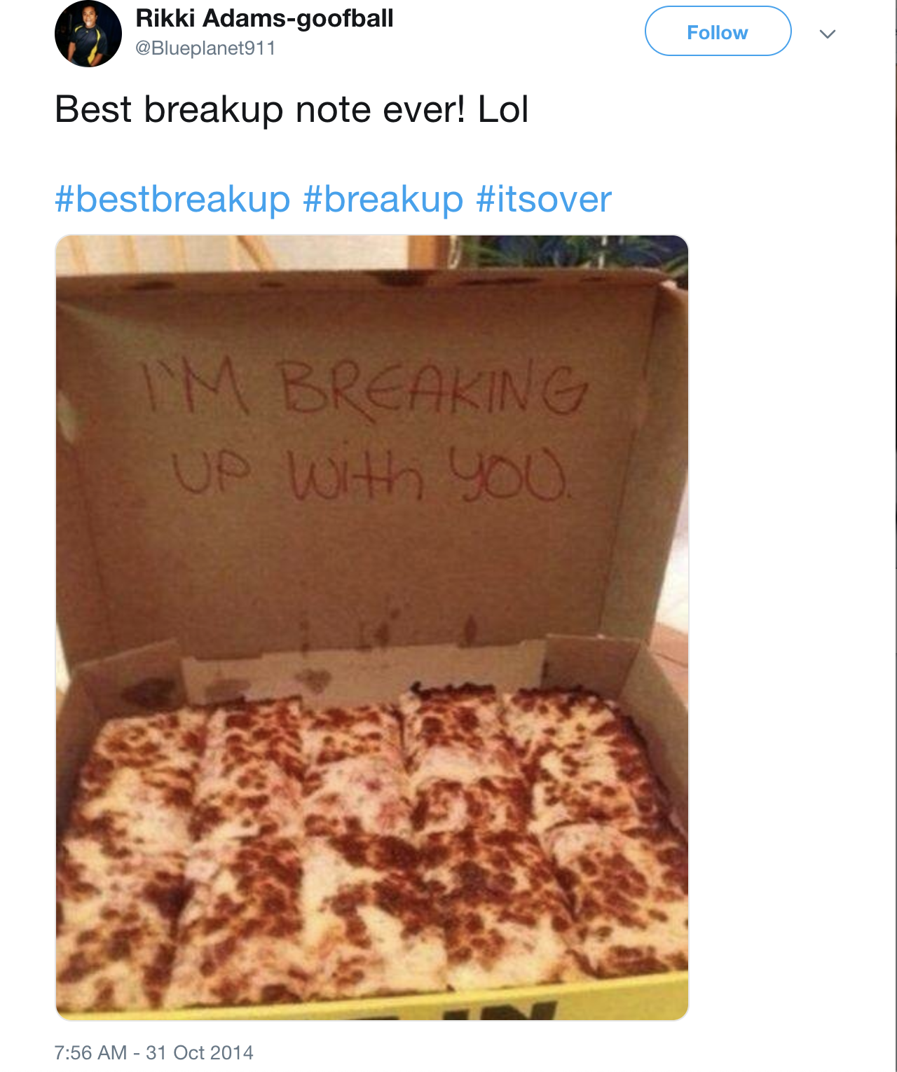 It's Not Delivery It's A Breakup
