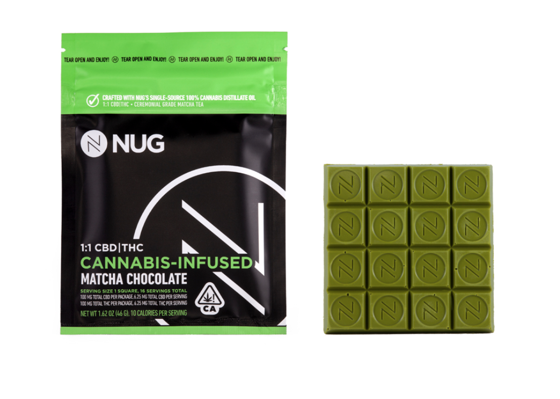 NUG 100mg Matcha Chocolate Bar 1:1 CBD/THC