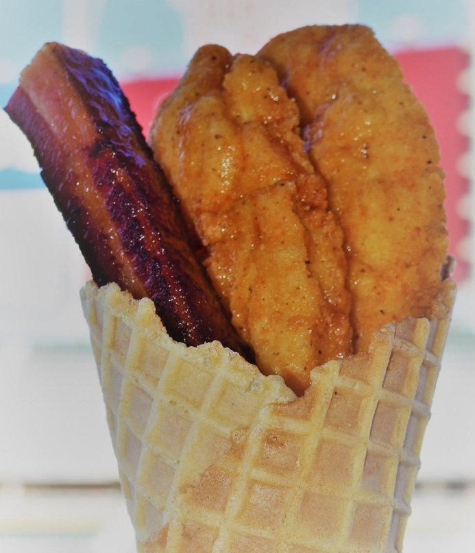 Chicken Waffle Cone (With Slab Of Bacon)