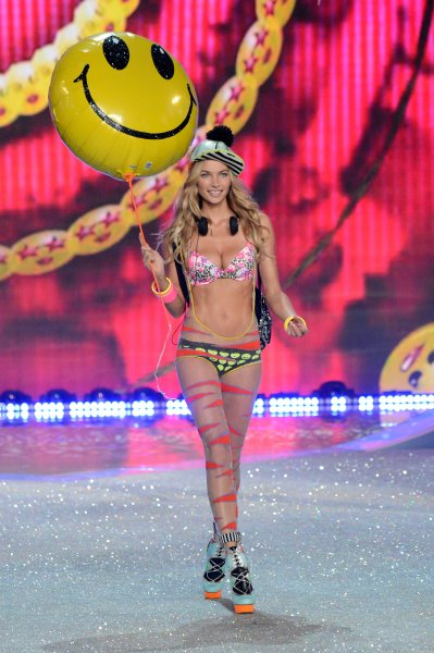 Model Jessica Hart walks the runway at the 2013 Victoria's Secret Fashion Show