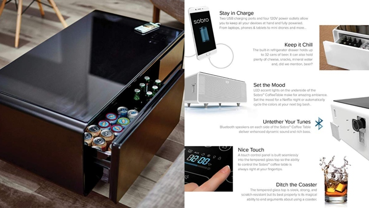 Sobro's Refrigerator Coffee Table With Bluetooth Speaker